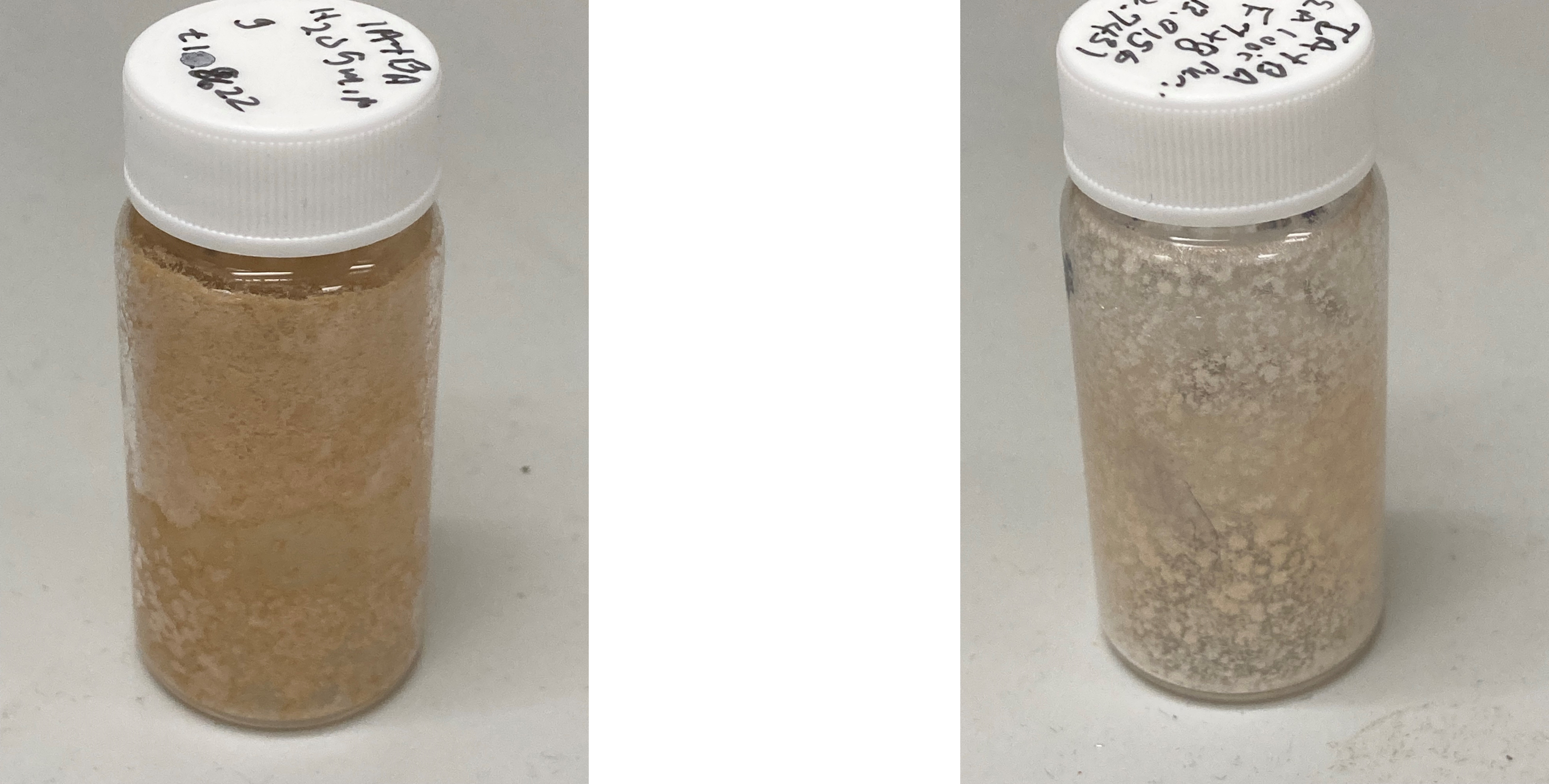 Orthogonal crude rxn mix before flash (L) and after RP flash