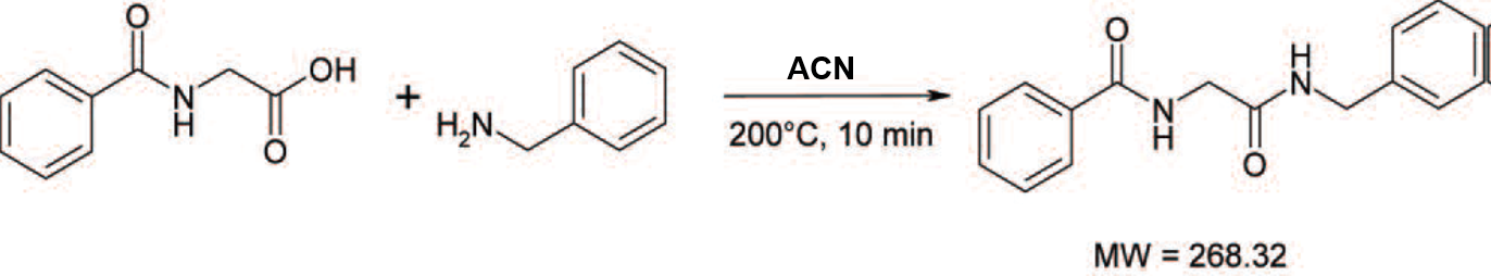 Hippuric acid + benzyl amine RxN in ACN