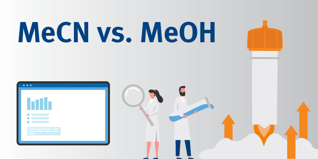Which solvent is better for reversed-phase flash chromatography - methanol or acetonitrile?